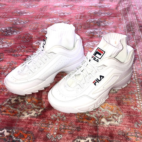 bcd8c5c084 Fila Shoes | Disruptor Evo Sockfit White Dad Sneakers 75 | Poshmark